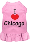 I Heart Chicago Screen Print Dog Dress Light Pink XL (16)